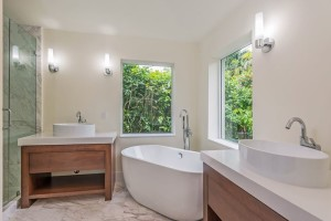 Fabulous master bath as separate glass shower, separate WC.